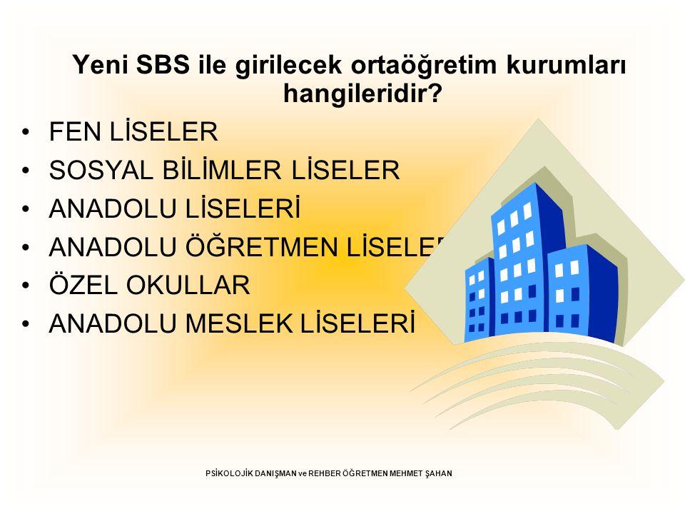 Yeni SBS ile girilecek ortaöğretim kurumları hangileridir? FEN LİSELER SOSYAL BİLİMLER LİSELER ANADOLU LİSELERİ ANADOLU ÖĞRETMEN LİSELERİ ÖZEL OKULLAR