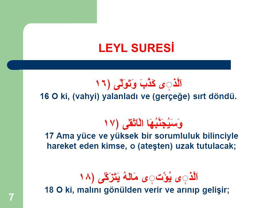 18 Rahman ve Rahim Olan Allah'ın Adıyla LEYL SURESİ