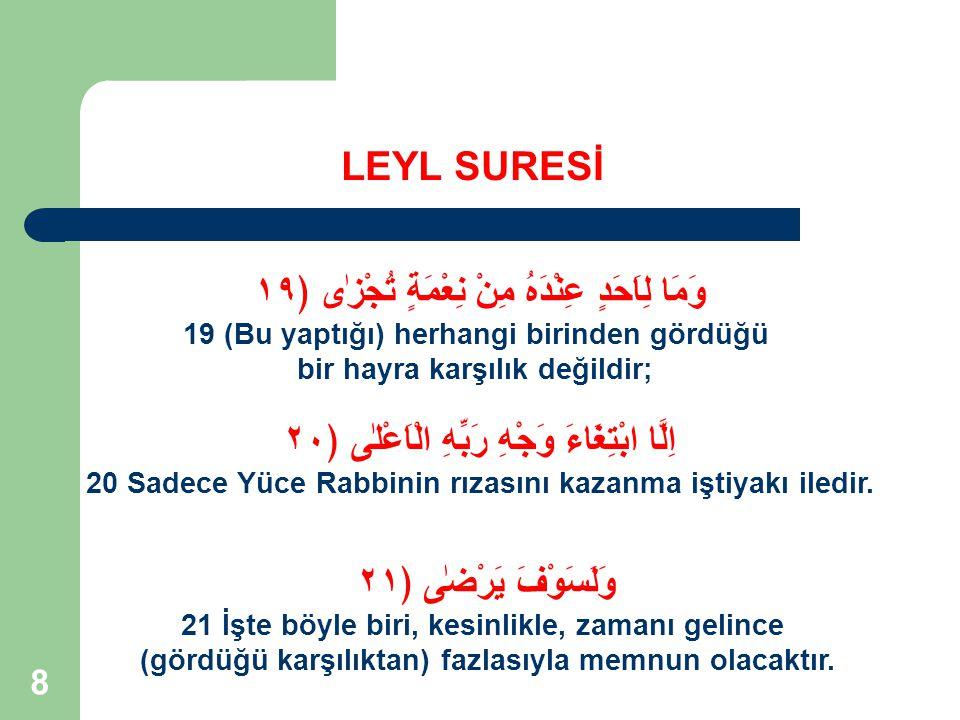 9 SURENİN KİMLİĞİ LEYL SURESİ Nuzul Sıra 10 Ayet Sayısı 21 Nuzul Yılı 1