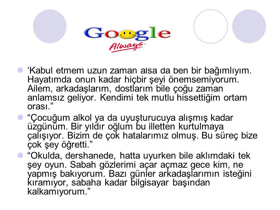 İ NTERNET BA Ğ IMLILI Ğ ININ YAYGINLI Ğ I İnternet bağımlılığı hakkında birçok araştırma yapmıştır.