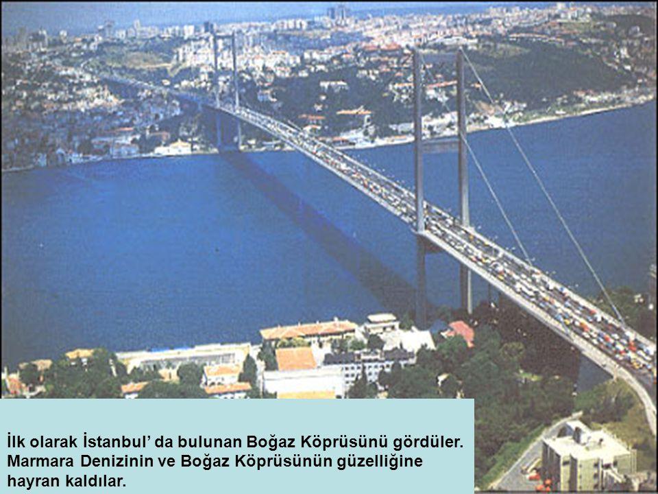 İlk olarak İstanbul' da bulunan Boğaz Köprüsünü gördüler.