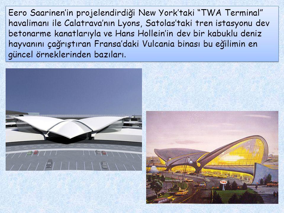"""Eero Saarinen'in projelendirdiği New York'taki """"TWA Terminal"""" havalimanı ile Calatrava'nın Lyons, Satolas'taki tren istasyonu dev betonarme kanatlarıy"""