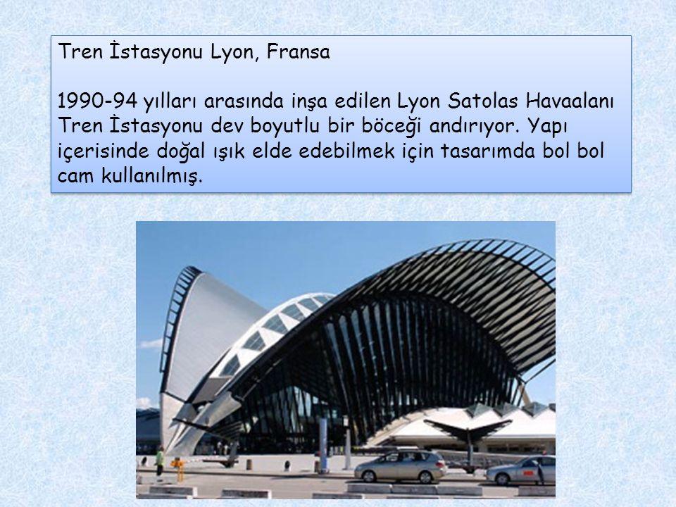 Tren İstasyonu Lyon, Fransa 1990-94 yılları arasında inşa edilen Lyon Satolas Havaalanı Tren İstasyonu dev boyutlu bir böceği andırıyor. Yapı içerisin