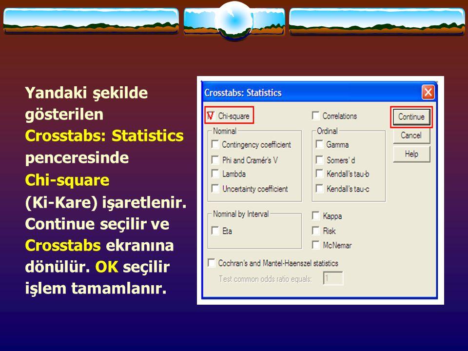 Yandaki şekilde gösterilen Crosstabs: Statistics penceresinde Chi-square (Ki-Kare) işaretlenir. Continue seçilir ve Crosstabs ekranına dönülür. OK seç