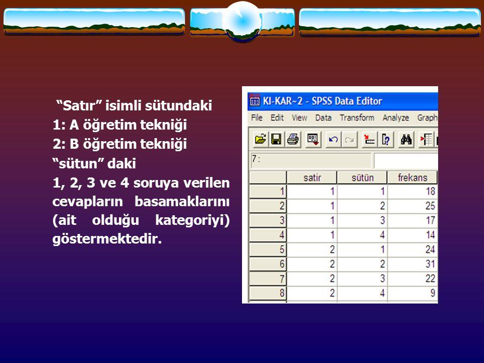 """""""Satır"""" isimli sütundaki 1: A öğretim tekniği 2: B öğretim tekniği """"sütun"""" daki 1, 2, 3 ve 4 soruya verilen cevapların basamaklarını (ait olduğu kateg"""