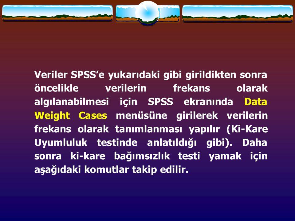 Veriler SPSS'e yukarıdaki gibi girildikten sonra öncelikle verilerin frekans olarak algılanabilmesi için SPSS ekranında Data Weight Cases menüsüne gir