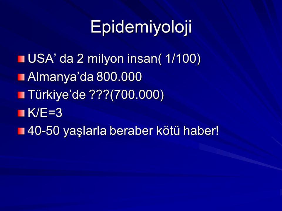 Epidemiyoloji USA' da 2 milyon insan( 1/100) Almanya'da 800.000 Türkiye'de ???(700.000) K/E=3 40-50 yaşlarla beraber kötü haber!