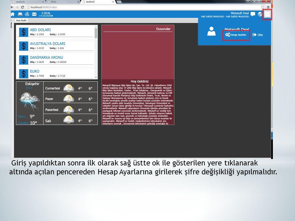 Hesap ayarlarına girdikten sonra ilk olarak Güncelle butonuna basılarak açılan pencerede eski şifre ve yeni şifre girildikten sonra İleri butonuna tıklanarak şifre değiştirme işlemi tamamlanır.
