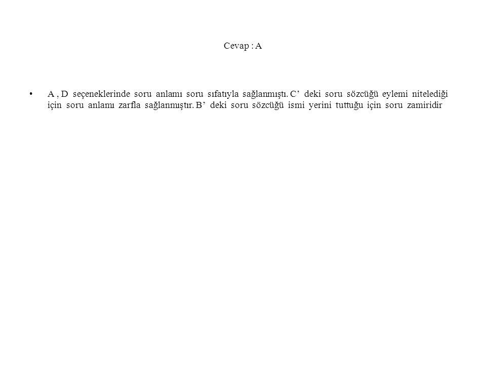 Cevap : A A, D seçeneklerinde soru anlamı soru sıfatıyla sağlanmıştı.