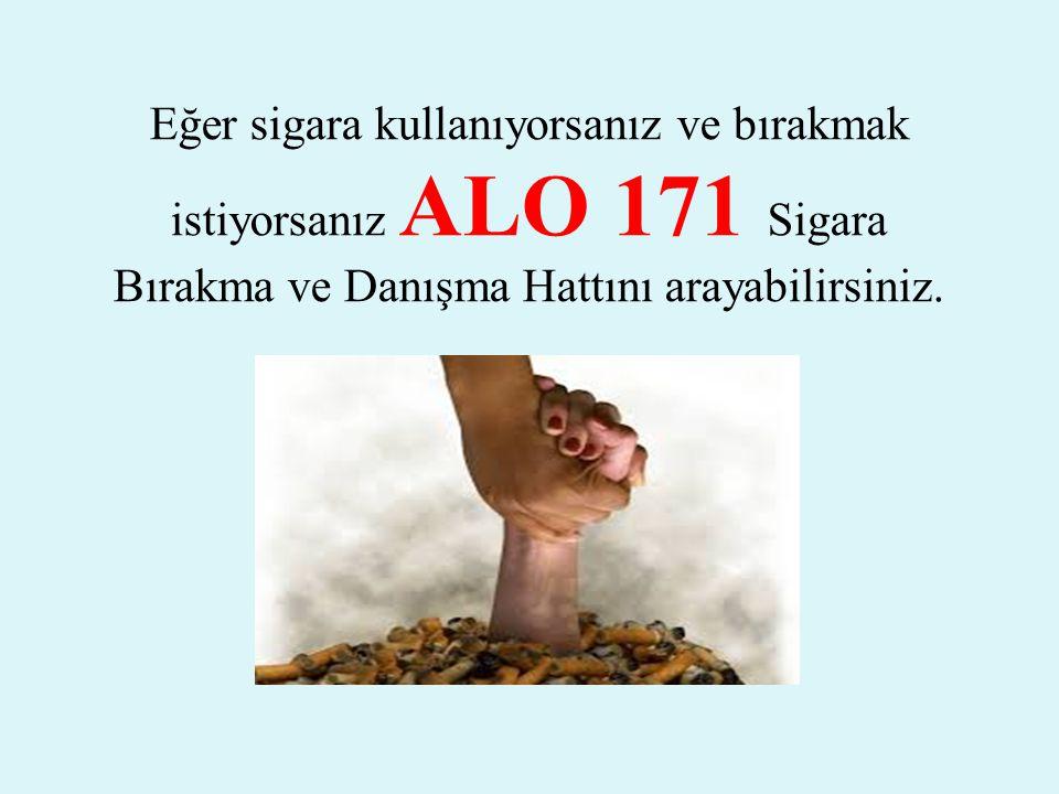 Eğer sigara kullanıyorsanız ve bırakmak istiyorsanız ALO 171 Sigara Bırakma ve Danışma Hattını arayabilirsiniz.