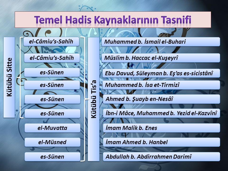 Müsned türündeki ilk eser Ebu Davud et-Tayalisi'nin el-Müsned adlı eseridir. Abdullah b. Zübeyr el-Humeydi el-Müsned Ahmed b. Hanbel el-Müsned (30.000