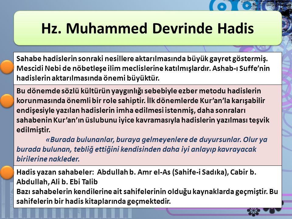 KONULAR 1. Hz. Muhammed Devrinde Hadis 2. Sahabe Döneminde Hadis 3. Tabiîn Döneminde Hadis 4. Hadislerin Tedvini ve Tasnifi 5. Hadis Usulünün Oluşum D