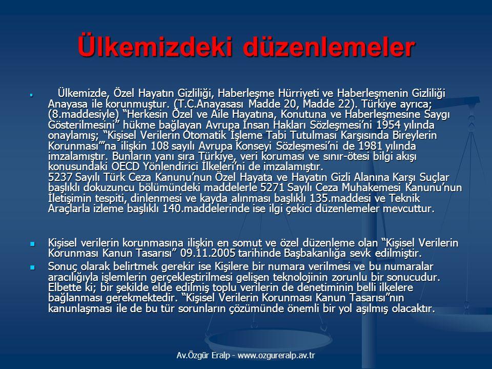 Av.Özgür Eralp - www.ozgureralp.av.tr Ülkemizdeki düzenlemeler Ülkemizde, Özel Hayatın Gizliliği, Haberleşme Hürriyeti ve Haberleşmenin Gizliliği Anayasa ile korunmuştur.