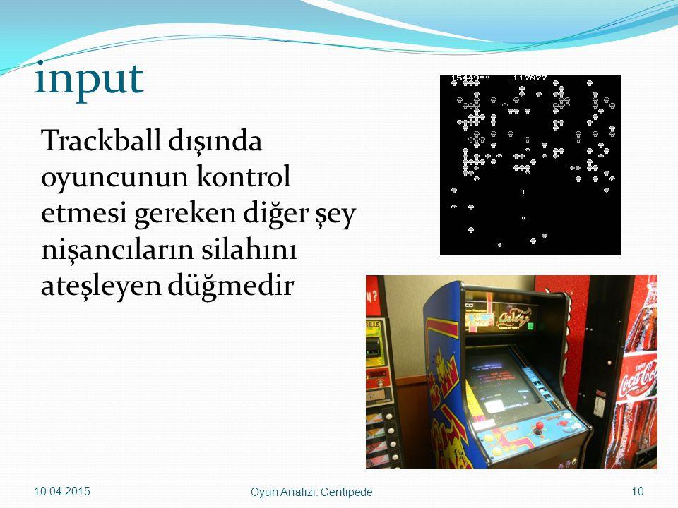 input Trackball dışında oyuncunun kontrol etmesi gereken diğer şey nişancıların silahını ateşleyen düğmedir 10.04.201510 Oyun Analizi: Centipede