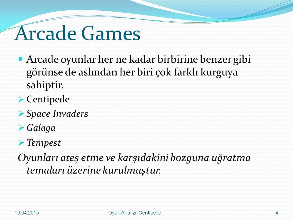 Arcade Games Arcade oyunlar her ne kadar birbirine benzer gibi görünse de aslından her biri çok farklı kurguya sahiptir.  Centipede  Space Invaders