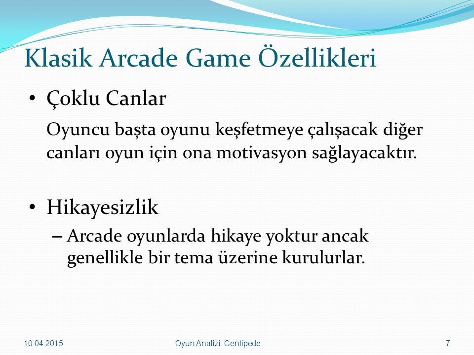 Klasik Arcade Game Özellikleri Çoklu Canlar Oyuncu başta oyunu keşfetmeye çalışacak diğer canları oyun için ona motivasyon sağlayacaktır. Hikayesizlik