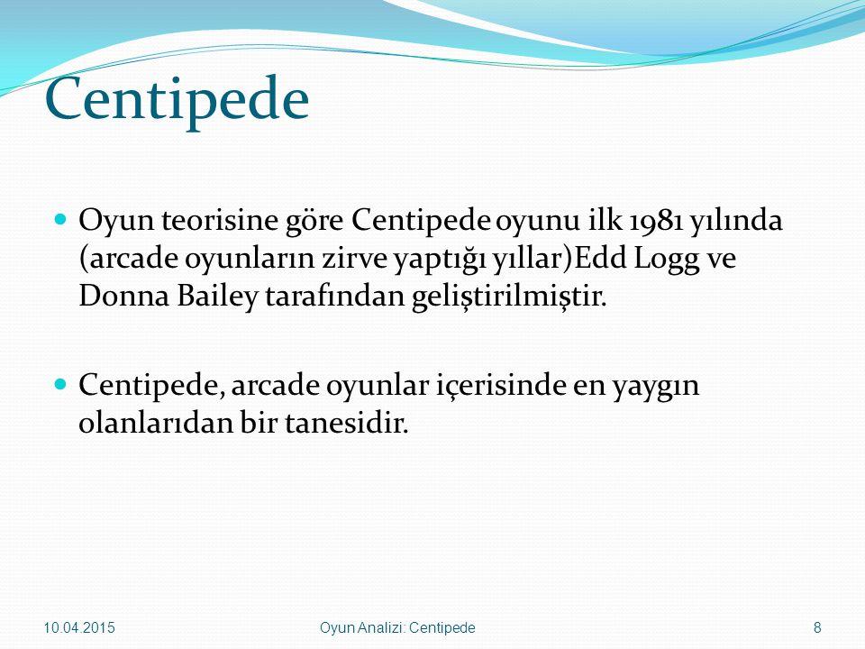 Centipede Oyun ve sunu içerisindeki bazı kavramlar: Centipede: Kırkayak.