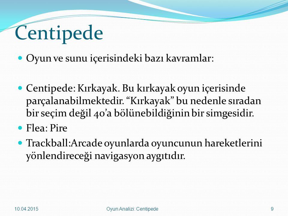 """Centipede Oyun ve sunu içerisindeki bazı kavramlar: Centipede: Kırkayak. Bu kırkayak oyun içerisinde parçalanabilmektedir. """"Kırkayak"""" bu nedenle sırad"""