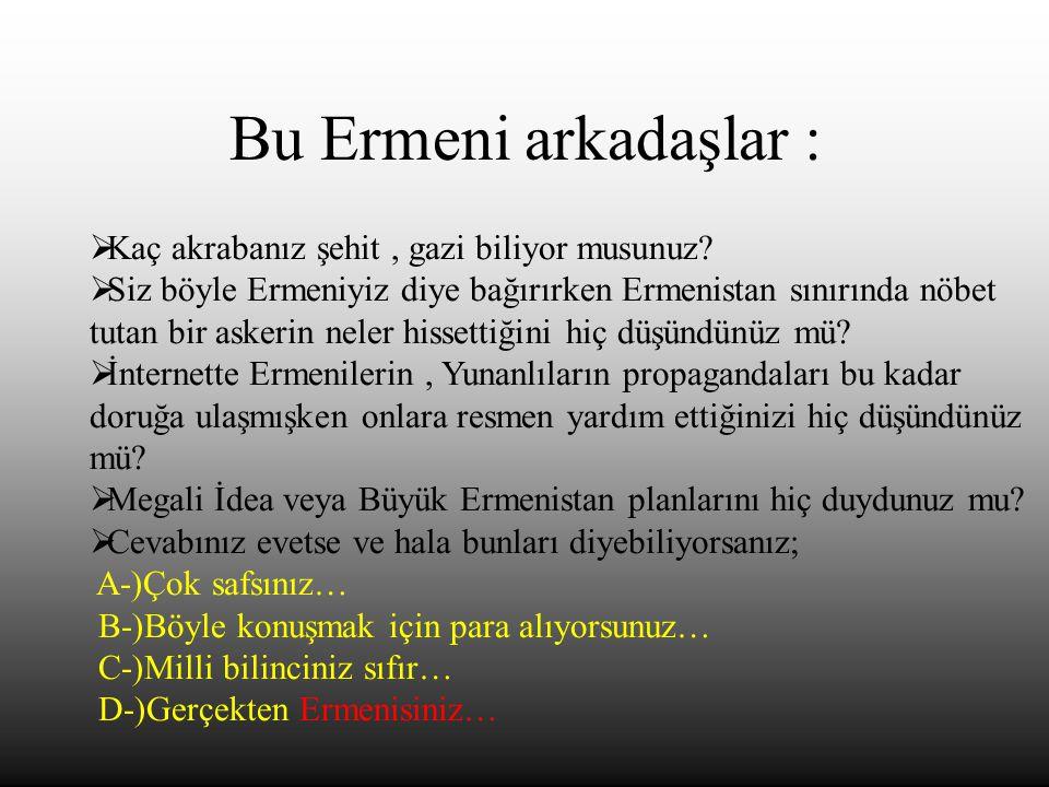 Bu Ermeni arkadaşlar :  Kaç akrabanız şehit, gazi biliyor musunuz?  Siz böyle Ermeniyiz diye bağırırken Ermenistan sınırında nöbet tutan bir askerin