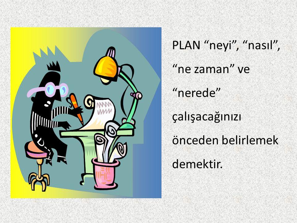 """PLAN """"neyi"""", """"nasıl"""", """"ne zaman"""" ve """"nerede"""" çalışacağınızı önceden belirlemek demektir."""