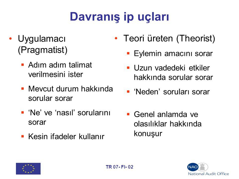 TR 07- FI- 02 Davranış ip uçları Uygulamacı (Pragmatist)  Adım adım talimat verilmesini ister  Mevcut durum hakkında sorular sorar  'Ne' ve 'nasıl' sorularını sorar  Kesin ifadeler kullanır Teori üreten (Theorist)  Eylemin amacını sorar  Uzun vadedeki etkiler hakkında sorular sorar  'Neden' soruları sorar  Genel anlamda ve olasılıklar hakkında konuşur