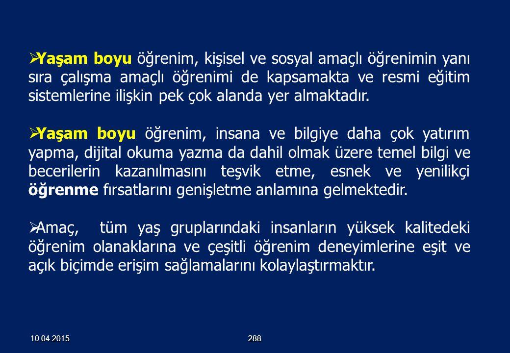 YAŞAM BOYU ÖĞRENME 28710.04.2015