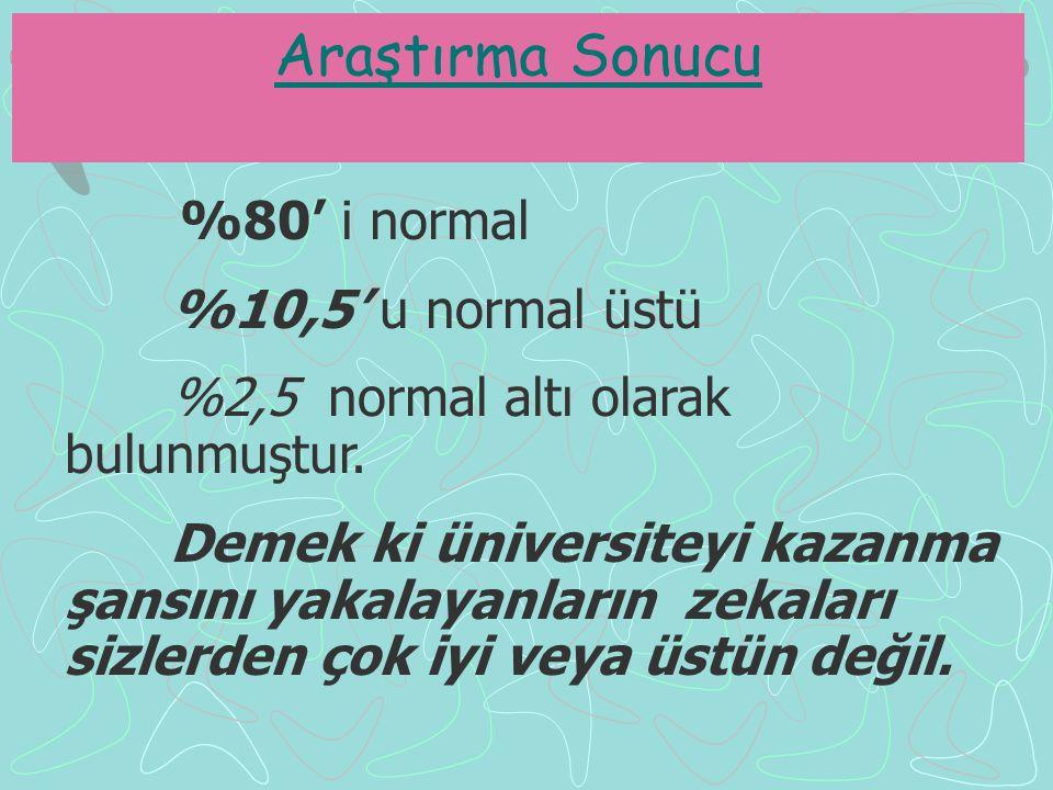 %80' i normal %10,5' u normal üstü %2,5 normal altı olarak bulunmuştur.