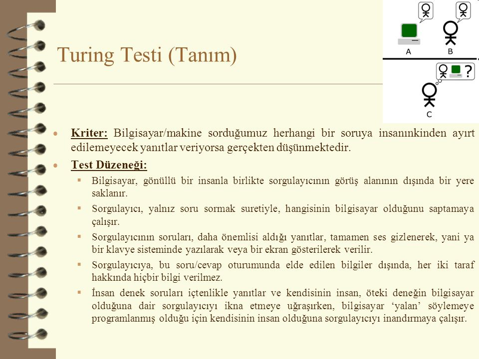 Turing Testi (Örnek Sorgulama) Sorgulayıcı: Please write me a sonnet on the topic of the Forth Bridge. Program: Count me out on this one.