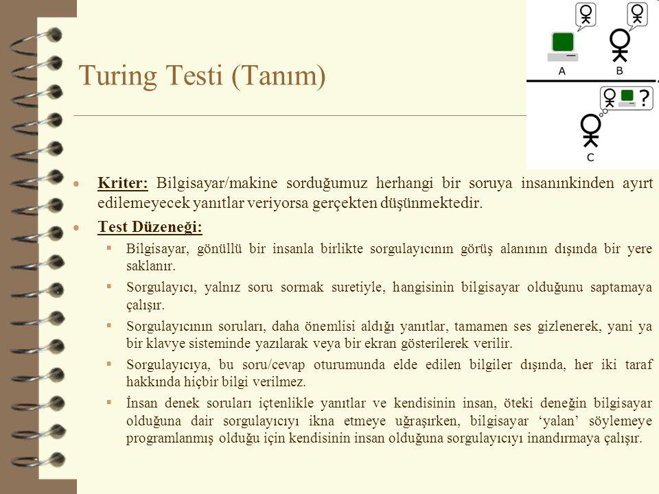 Turing Testi (Tanım)  Kriter: Bilgisayar/makine sorduğumuz herhangi bir soruya insanınkinden ayırt edilemeyecek yanıtlar veriyorsa gerçekten düşünmek