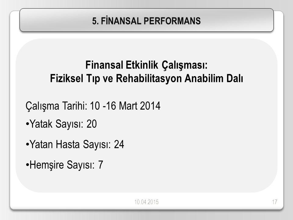 10.04.201517 5. FİNANSAL PERFORMANS Finansal Etkinlik Çalışması: Fiziksel Tıp ve Rehabilitasyon Anabilim Dalı Çalışma Tarihi: 10 -16 Mart 2014 Yatak S