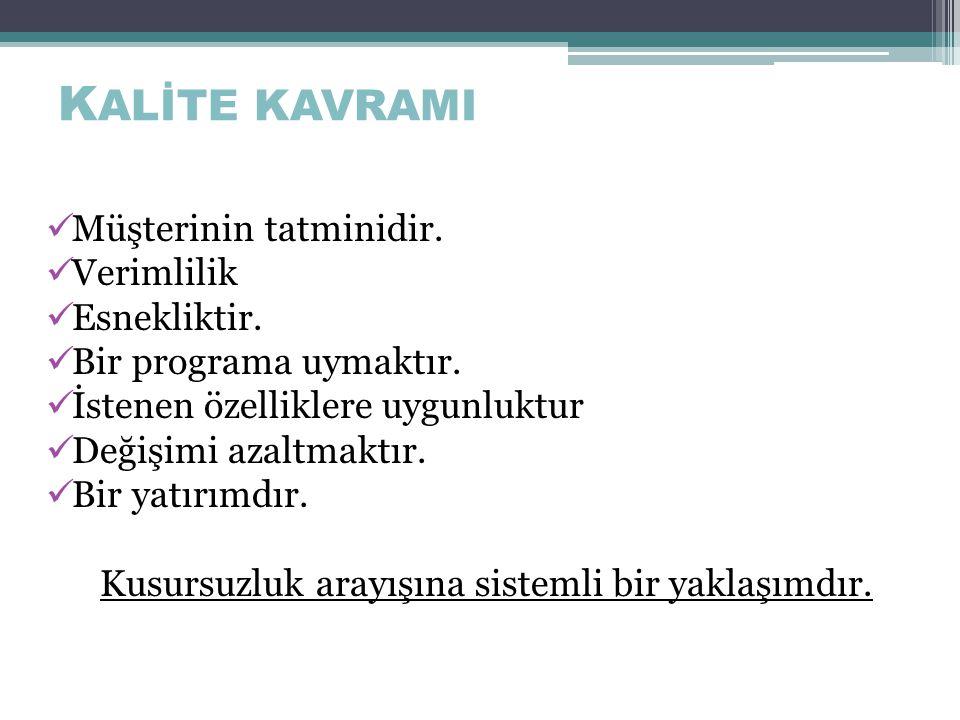 Kalite Kavramı Kalite, l ü ks, g ö steriş ve ağırlık anlamındadır.