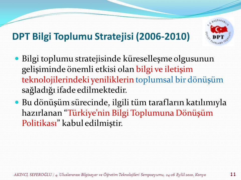 AKINCI, SEFEROĞLU / 4. Uluslararası Bilgisayar ve Öğretim Teknolojileri Sempozyumu, 24-26 Eylül 2010, Konya 11 DPT Bilgi Toplumu Stratejisi (2006-2010
