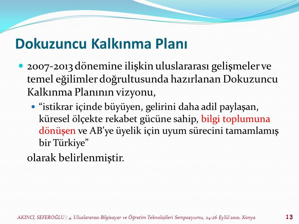 AKINCI, SEFEROĞLU / 4. Uluslararası Bilgisayar ve Öğretim Teknolojileri Sempozyumu, 24-26 Eylül 2010, Konya 13 Dokuzuncu Kalkınma Planı 2007-2013 döne