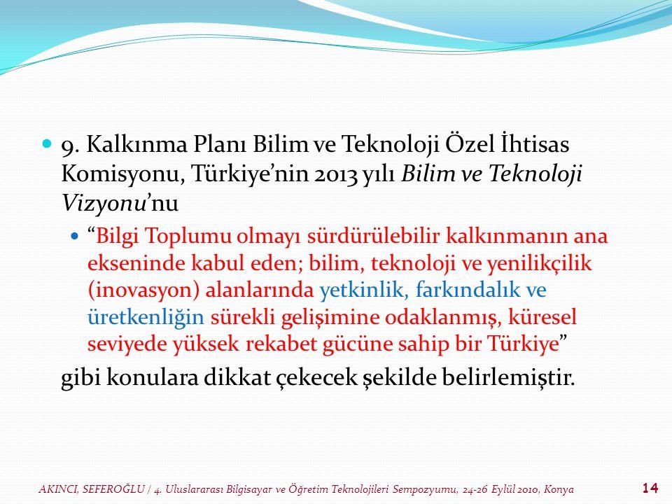 AKINCI, SEFEROĞLU / 4. Uluslararası Bilgisayar ve Öğretim Teknolojileri Sempozyumu, 24-26 Eylül 2010, Konya 14 9. Kalkınma Planı Bilim ve Teknoloji Öz
