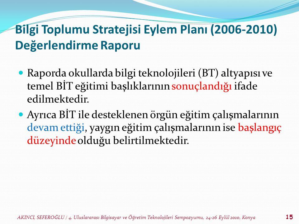 AKINCI, SEFEROĞLU / 4. Uluslararası Bilgisayar ve Öğretim Teknolojileri Sempozyumu, 24-26 Eylül 2010, Konya 15 Bilgi Toplumu Stratejisi Eylem Planı (2