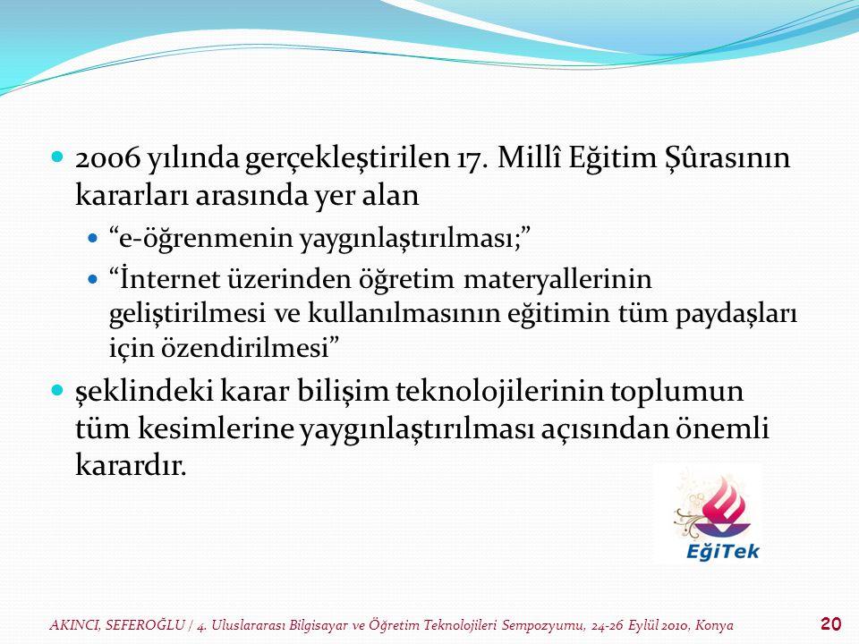 AKINCI, SEFEROĞLU / 4. Uluslararası Bilgisayar ve Öğretim Teknolojileri Sempozyumu, 24-26 Eylül 2010, Konya 20 2006 yılında gerçekleştirilen 17. Millî