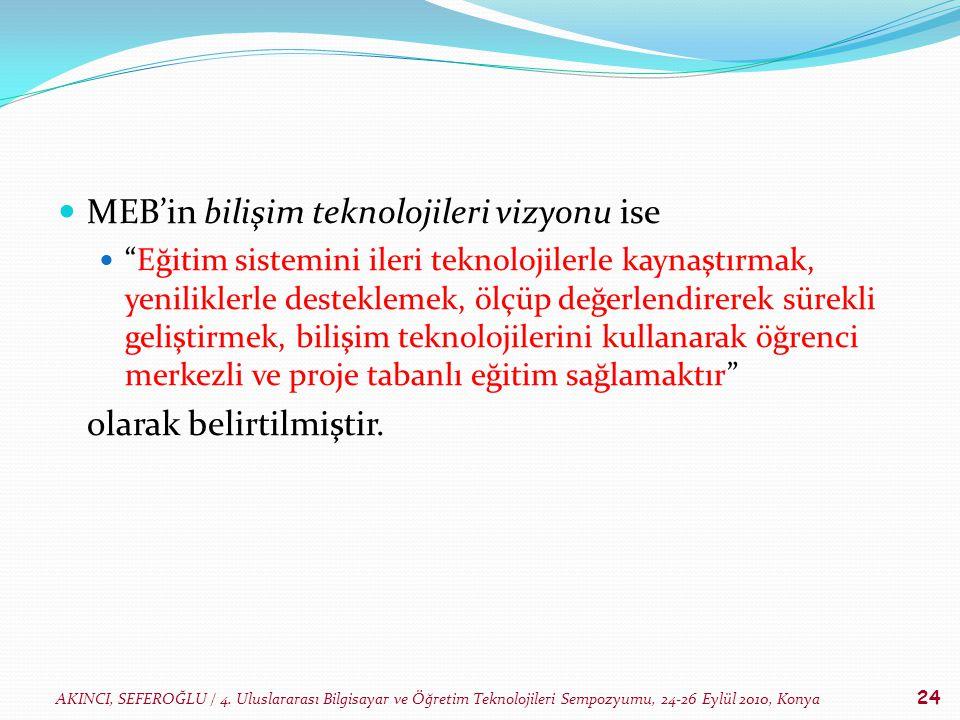 AKINCI, SEFEROĞLU / 4. Uluslararası Bilgisayar ve Öğretim Teknolojileri Sempozyumu, 24-26 Eylül 2010, Konya 24 MEB'in bilişim teknolojileri vizyonu is