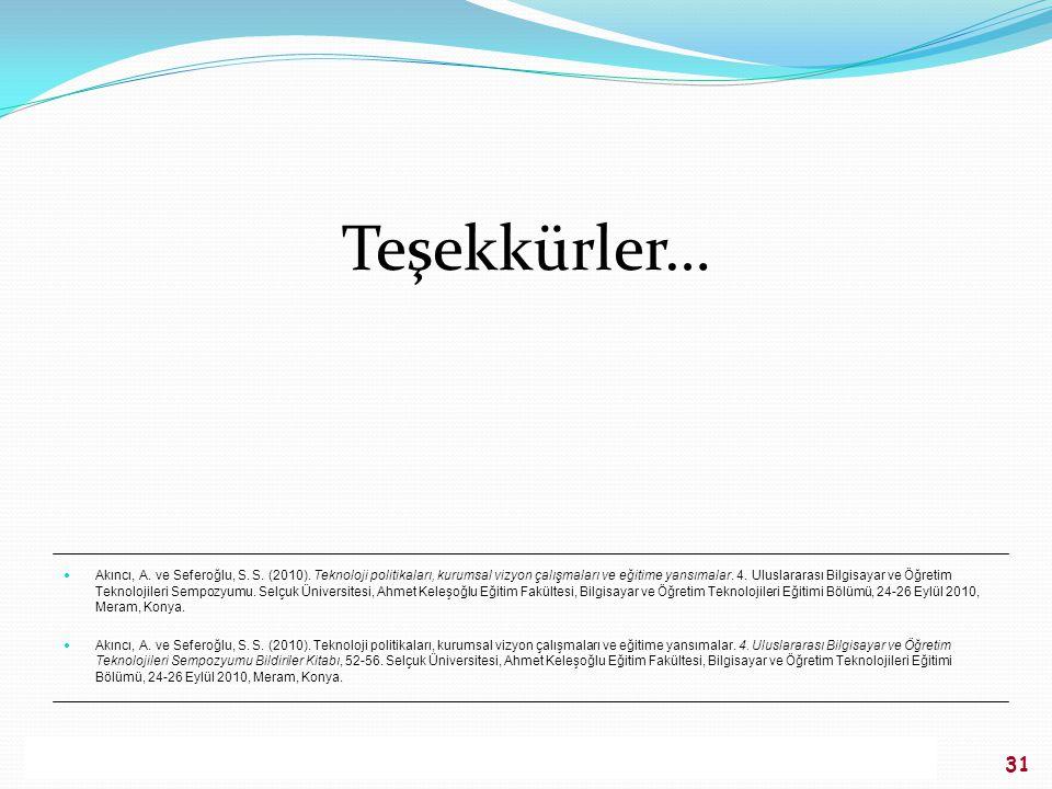 AKINCI, SEFEROĞLU / 4. Uluslararası Bilgisayar ve Öğretim Teknolojileri Sempozyumu, 24-26 Eylül 2010, Konya 31 Teşekkürler… Akıncı, A. ve Seferoğlu, S