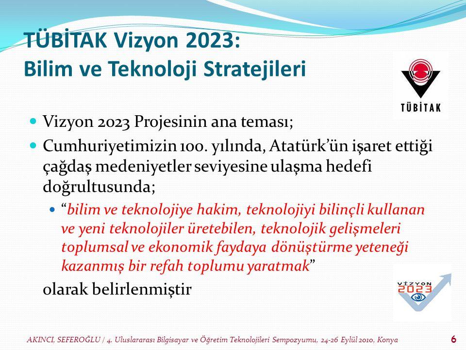 AKINCI, SEFEROĞLU / 4. Uluslararası Bilgisayar ve Öğretim Teknolojileri Sempozyumu, 24-26 Eylül 2010, Konya 6 TÜBİTAK Vizyon 2023: Bilim ve Teknoloji