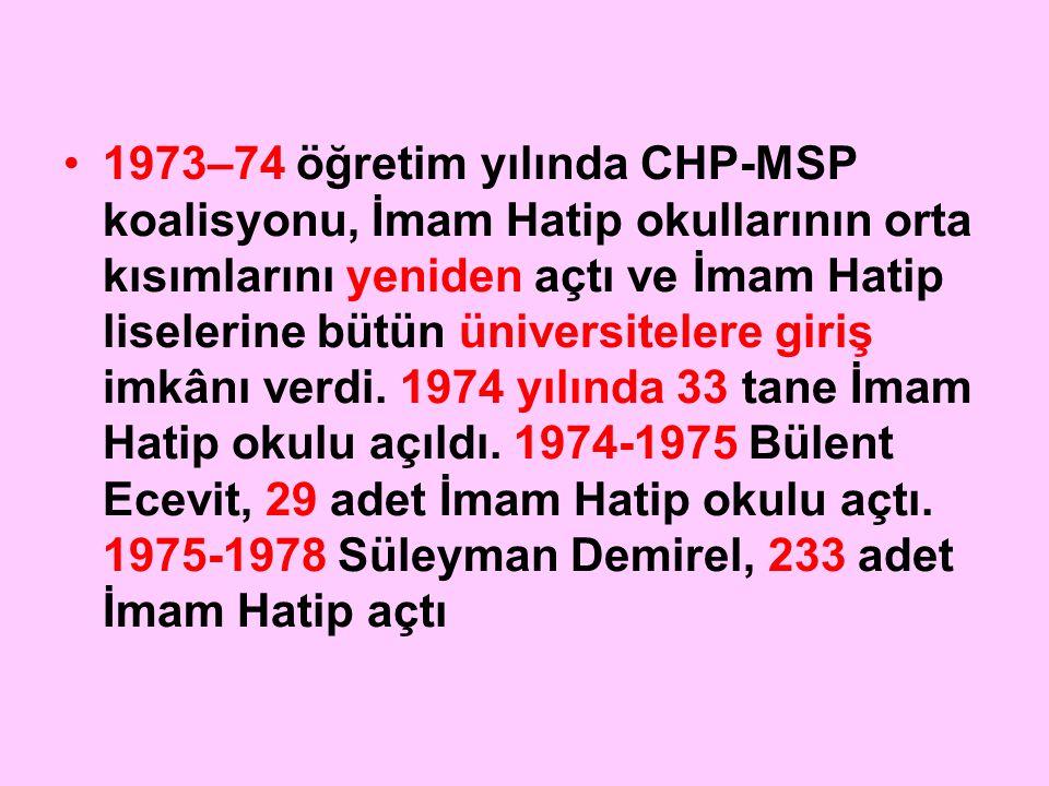 1973–74 öğretim yılında CHP-MSP koalisyonu, İmam Hatip okullarının orta kısımlarını yeniden açtı ve İmam Hatip liselerine bütün üniversitelere giriş i