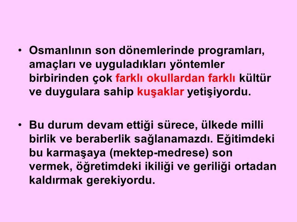 Osmanlının son dönemlerinde programları, amaçları ve uyguladıkları yöntemler birbirinden çok farklı okullardan farklı kültür ve duygulara sahip kuşakl