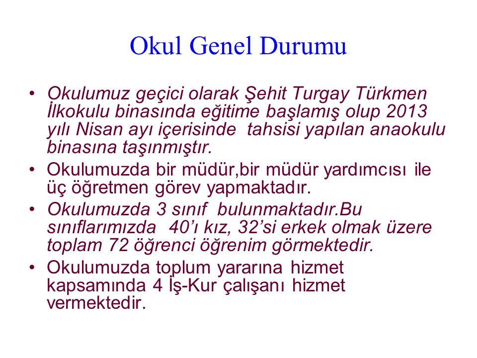 Okul Genel Durumu Okulumuz geçici olarak Şehit Turgay Türkmen İlkokulu binasında eğitime başlamış olup 2013 yılı Nisan ayı içerisinde tahsisi yapılan