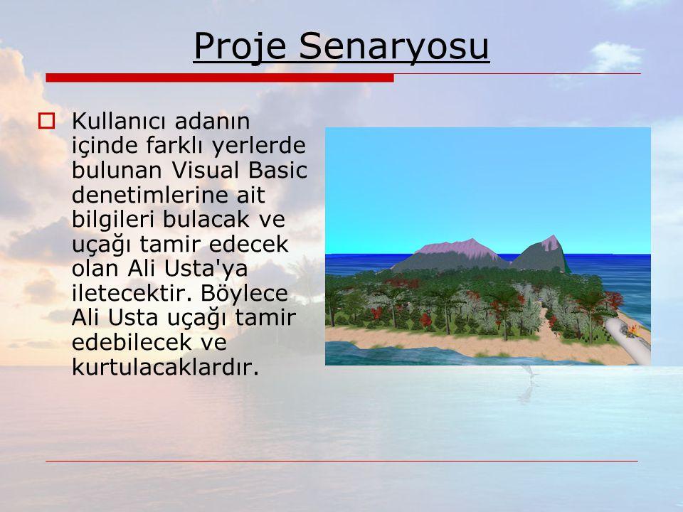 Proje Senaryosu  Kullanıcı adanın içinde farklı yerlerde bulunan Visual Basic denetimlerine ait bilgileri bulacak ve uçağı tamir edecek olan Ali Usta ya iletecektir.