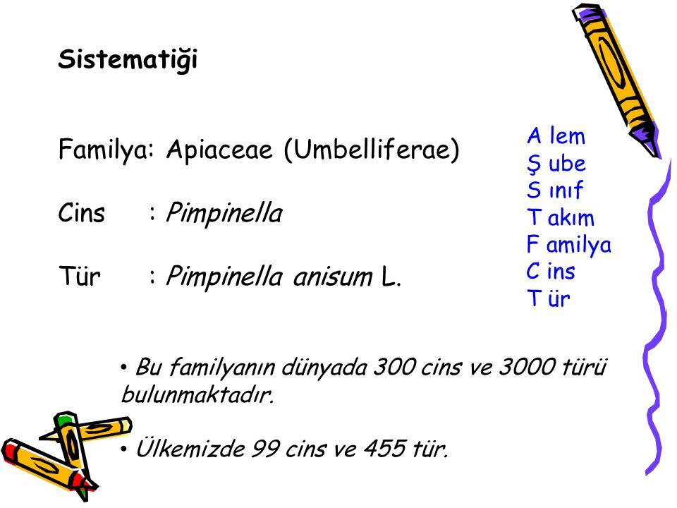 Sistematiği Familya: Apiaceae (Umbelliferae) Cins : Pimpinella Tür : Pimpinella anisum L. A lem Ş ube S ınıf T akım F amilya C ins T ür Bu familyanın