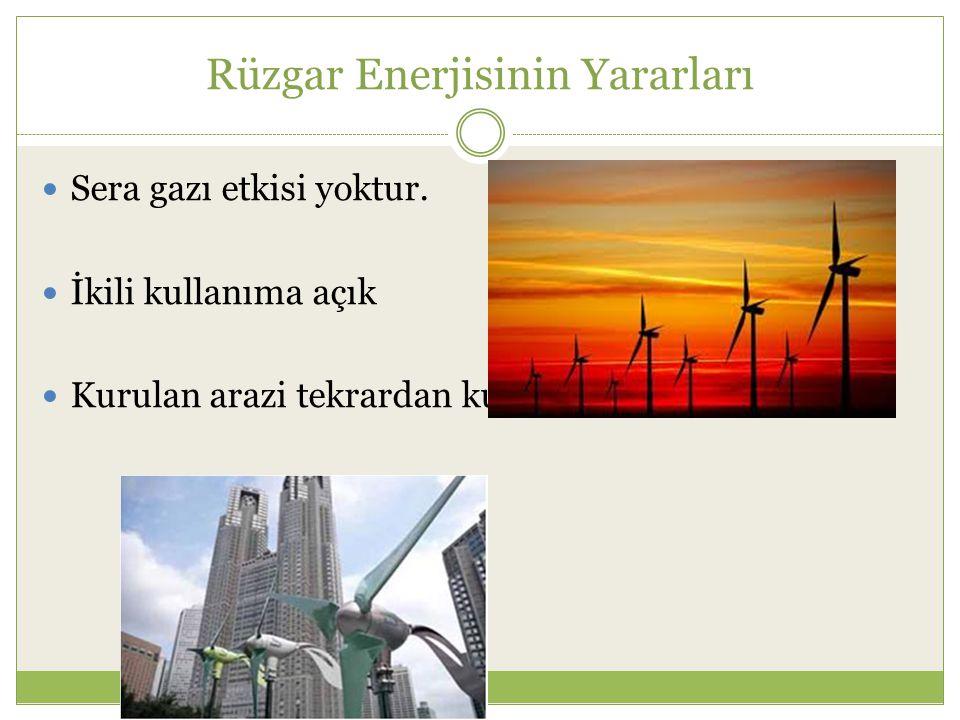 Rüzgar Enerjisinin Yararları Sera gazı etkisi yoktur. İkili kullanıma açık Kurulan arazi tekrardan kullanılabilir.