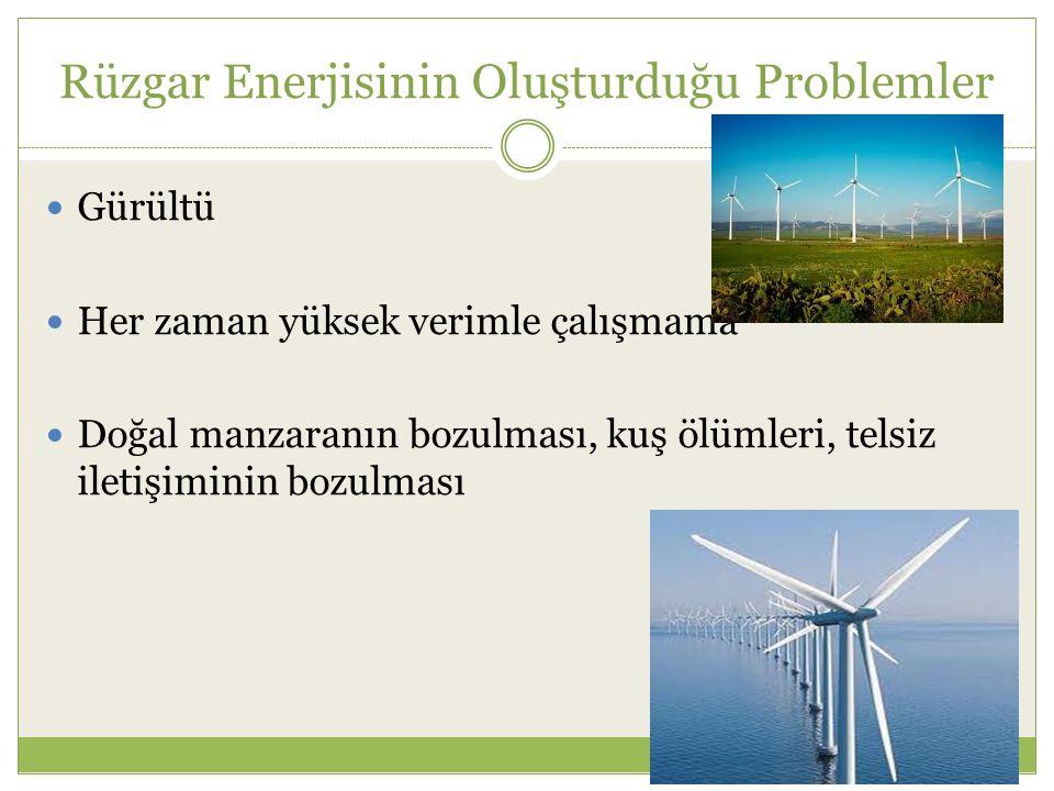 Rüzgar Enerjisinin Oluşturduğu Problemler Gürültü Her zaman yüksek verimle çalışmama Doğal manzaranın bozulması, kuş ölümleri, telsiz iletişiminin bozulması