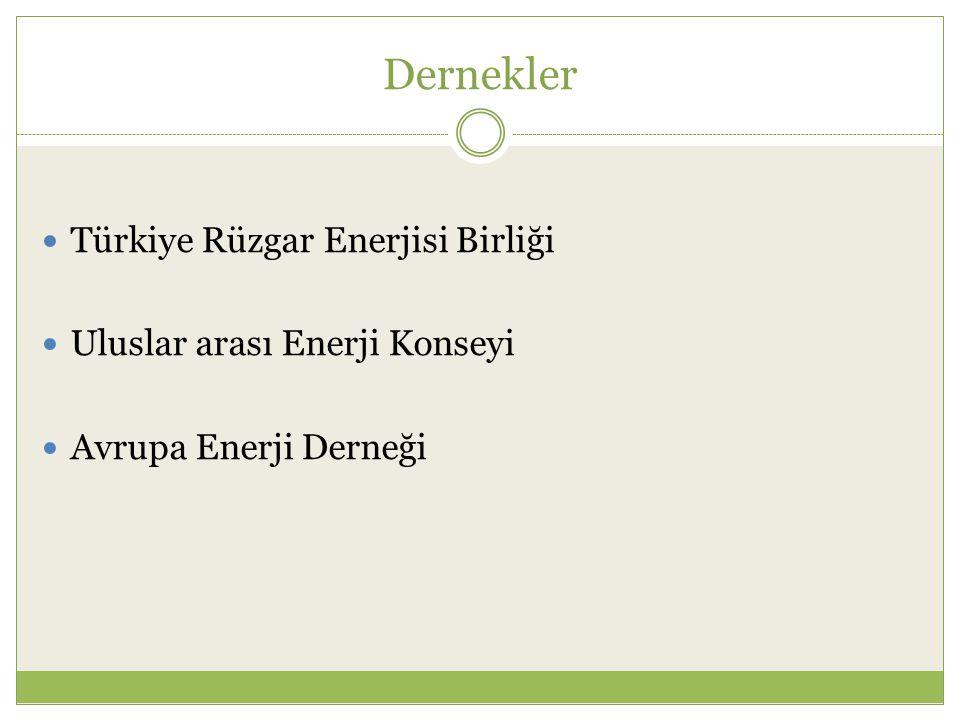 Dernekler Türkiye Rüzgar Enerjisi Birliği Uluslar arası Enerji Konseyi Avrupa Enerji Derneği