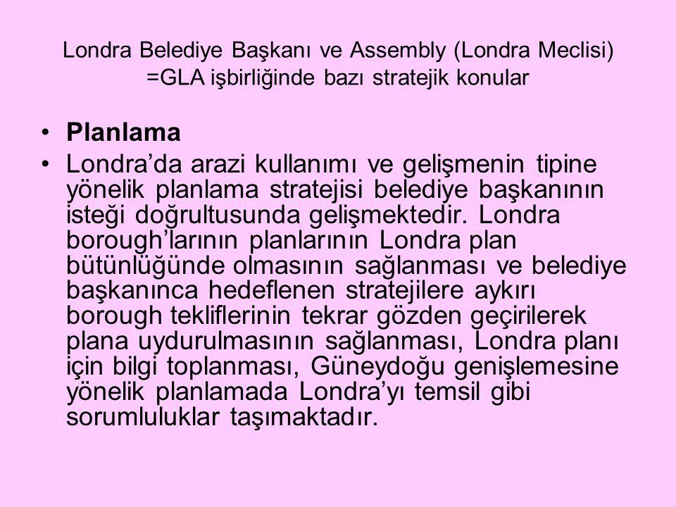 Londra Belediye Başkanı ve Assembly (Londra Meclisi) =GLA işbirliğinde bazı stratejik konular Planlama Londra'da arazi kullanımı ve gelişmenin tipine yönelik planlama stratejisi belediye başkanının isteği doğrultusunda gelişmektedir.