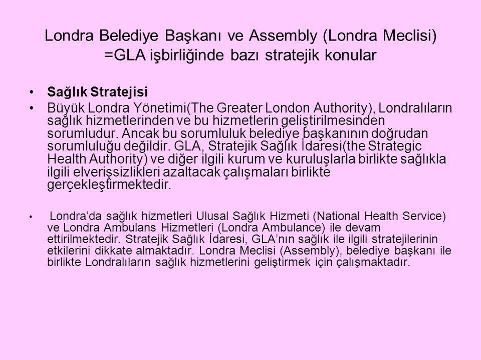 Londra Belediye Başkanı ve Assembly (Londra Meclisi) =GLA işbirliğinde bazı stratejik konular Sağlık Stratejisi Büyük Londra Yönetimi(The Greater London Authority), Londralıların sağlık hizmetlerinden ve bu hizmetlerin geliştirilmesinden sorumludur.