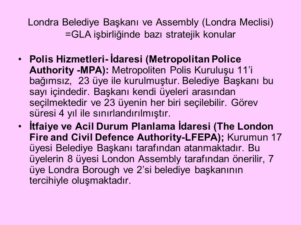 Londra Belediye Başkanı ve Assembly (Londra Meclisi) =GLA işbirliğinde bazı stratejik konular Polis Hizmetleri- İdaresi (Metropolitan Police Authority -MPA): Metropoliten Polis Kuruluşu 11'i bağımsız, 23 üye ile kurulmuştur.